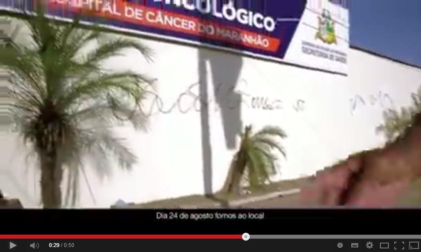 CANDIDATO MENTIU Mesmo com clínica para tratamento de câncer funcionando desde a última segunda, Dino exibiu na quarta um vídeo gravado no domingo. Foto: Reprodução / Youtube