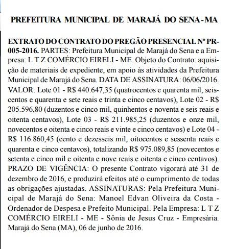 CONTRAT0 MARAJÁ DO SENA QUINTA-FEIRA, 16 - JUNHO – 2016 PG 29